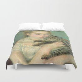 Woman with a Cat Oil Painting by Auguste Renoir Duvet Cover