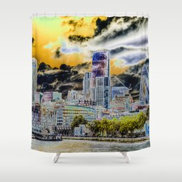 Solarised London Shower Curtain
