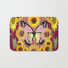 BURGUNDY SUNFLOWERS & PINK BUTTERFLY ART Bath Mat