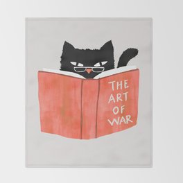 Cat reading book Throw Blanket