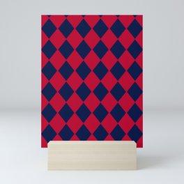 Red blue geometric pattern Mini Art Print