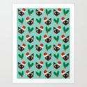 Siamese Cat cute christmas gift santa hat pattern mistletoe and holly wreath cats cute kitten gift  by petfriendly