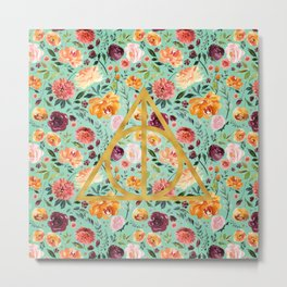 Deathly Hallows Pattern/Gold/Surf Green Metal Print