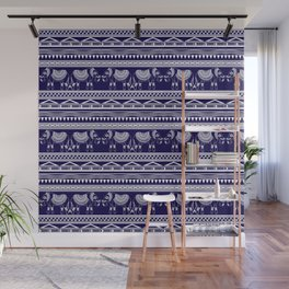 White and Navy Blue Elephant Pattern Wall Mural