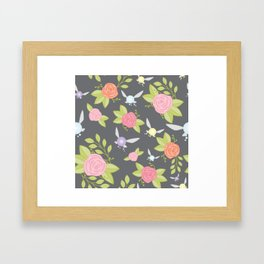 Garden of Fairies Pattern in Grey Framed Art Print
