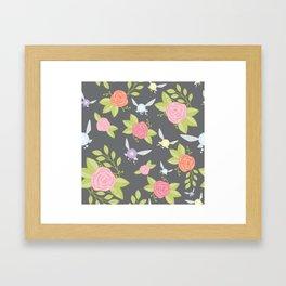 Garden of Fairies Pattern in Grey Framed Art Print