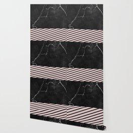 MARBLE & PALE DOGWOOD STRIPES Wallpaper