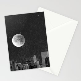 Blood Moon Over Denver Colorado in Black and White Stationery Cards