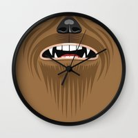 chewbacca Wall Clocks featuring Chewbacca - Starwars by Alex Patterson AKA frigopie76