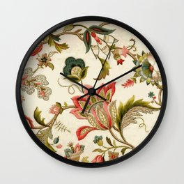 Jacobean Floral Crewel Embroidery Pattern Digital Art Vector Painting Wall Clock