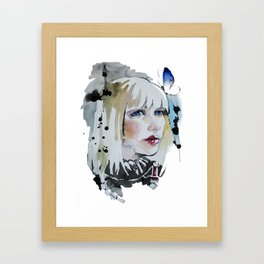 Girl with butterfly in her blond hair watercolor Framed Art Print