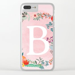 Flower Wreath with Personalized Monogram Initial Letter B on Pink Watercolor Paper Texture Artwork Clear iPhone Case