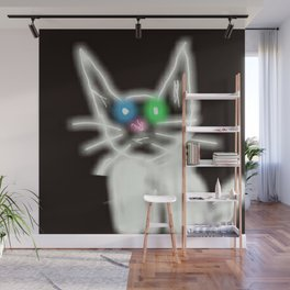 WHITE CAT Wall Mural