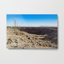 Lone Ocotillo Reaching up to the Blue Sky in front of a Gorge in the Anza Borrego Desert State Park Metal Print