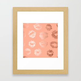 Sweet Life Lips Peach Coral Pink Shimmer Framed Art Print
