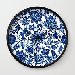 Vintage Decorative Print - Classic Blue Wall Clock
