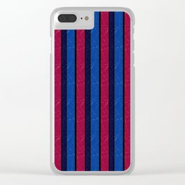 Simple blue and red stripes. Clear iPhone Case
