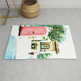 L'Aquila: red cabin with city gate Rug