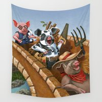 pigs Wall Tapestries featuring The Three Pigs by CWaldron
