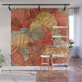 Leaves in Rosy Background 4 Wall Mural