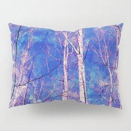 White Trees Light Blue Sky In February Watercolor Pillow Sham