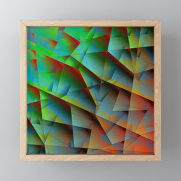 Abstract bright pattern of green and overlapping blue triangles and irregularly shaped lines. Framed Mini Art Print