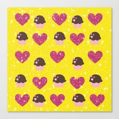 Hearts and cupcakes Canvas Print