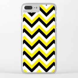 Yellow Black and White Chevrons Clear iPhone Case