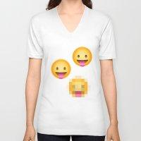 emoji V-neck T-shirts featuring Pixelated Emoji by Krista Jaworski