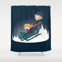 hobbes Shower Curtains featuring A Snowy Ride by Perdita