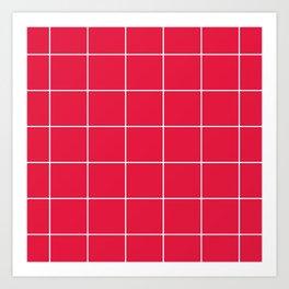 White Grid - Red BG Art Print