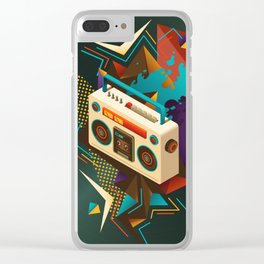 Bust Out The Jams Retro 80s Boombox Splash Clear iPhone Case