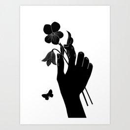 Black Hand Holding Flowers Art Print