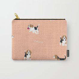 Salmon Pink Beagle Carry-All Pouch