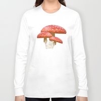 low poly Long Sleeve T-shirts featuring Low Poly Mushroom by Makar Deku