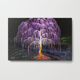 Electric Wisteria Willow Tree Metal Print