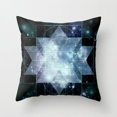 Galaxy Sacred Geometry Rhombic Hexecontahedron Blue Throw Pillow
