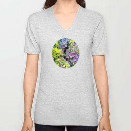 Green purple hydrangea Unisex V-Neck
