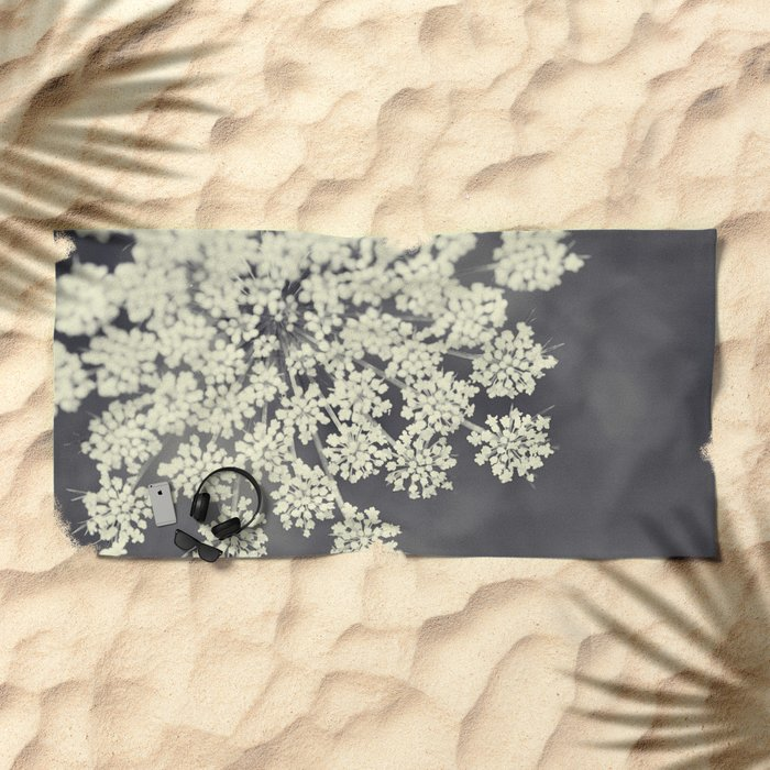 Black and White Queen Annes Lace Beach Towel