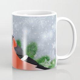 Bullfinch birds on fir tree branches Coffee Mug