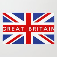 british flag Area & Throw Rugs featuring great britain country flag name text british by tony tudor