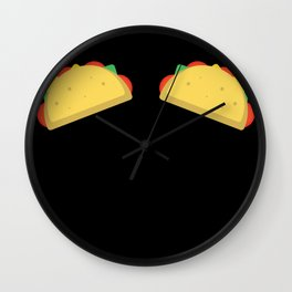 Funny Tacos Boobs Top Bra print for Mexican Woman Wall Clock