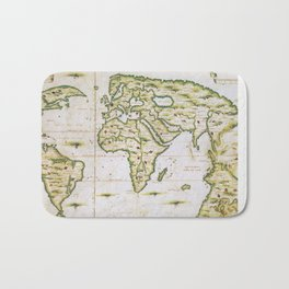 Vintage Map of The World (1566) Bath Mat