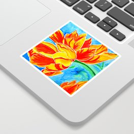Happy Tulips colorful cheerful artwork Sticker