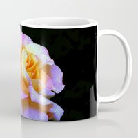rose gold Mugs featuring Pink And Gold Rose by minx267