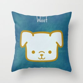 Woof - Dog Graphic - Chalkboard Inspired Throw Pillow