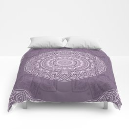 White Lace on Lavender Comforters