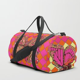 ABSTRACT MONARCH BUTTERFLY IN PINK-YELLOW Duffle Bag