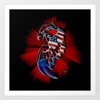 patriotic Art Prints featuring Patriotic Eagle by Mr D's Abstract Adventures