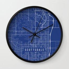 Scottsdale Map, USA - Blue Wall Clock